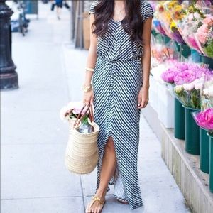 Velvet by Graham & Spencer Blue Stripe Maxi Dress